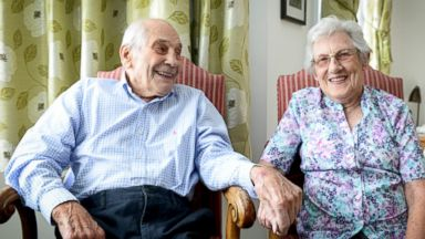 PHOTO: George Kirby and Doreen Luckie pictured at their home in Eastbourn, Sussex, April 24, 2015.