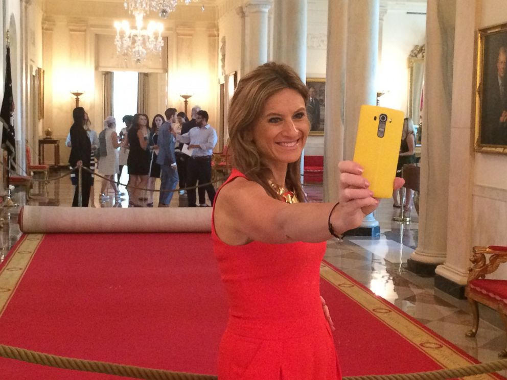 PHOTO: Denise Albert was one of the first people on the new White House tour since the ban on photography and social media was lifted.