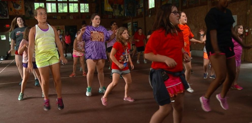 PHOTO: Audrey Gordon (right), shown here during a Zumba class, was one of 600 campers who attended Camp Shane in Ferndale, New York this summer.