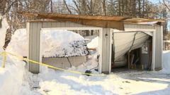 PHOTO: The roof of Charles and Jennifer Ellers car garage collapsed under the weight of snow in Pepperel, Massachusetts.