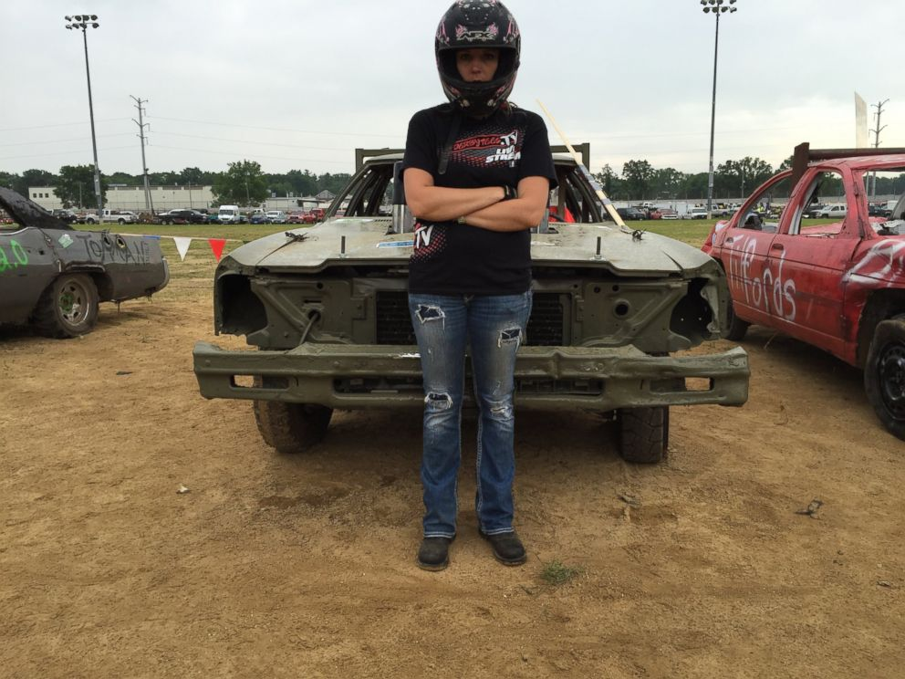 Vicki Schutte of Monroe, Wisconsin, a mother of two and a welder, is shown here at the demolition derby, Metal Mayhem 2015 in Pecatonica, Illinois.