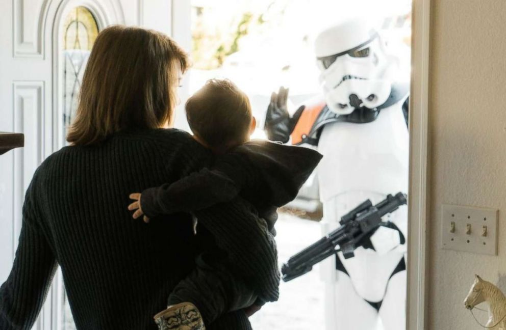 PHOTO: Ben Bronske and his mom, Sarah Bronske, greet Stormtroopers at their Washington state home.