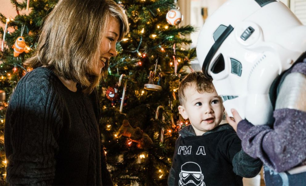 PHOTO: Ben Bronske greets a Stormtrooper while his mother, Sarah Bronske, looks on.