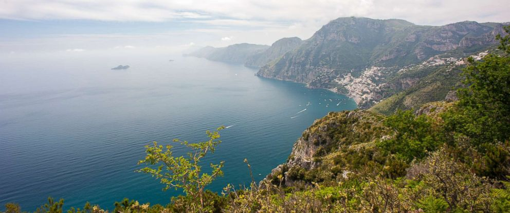 PHOTO: The view towards Capri from the Path of the Gods, a hiking trail from Agerola to Positano on the Amalfi coast that is said to run so close to heaven that it is in direct contact with the Gods.
