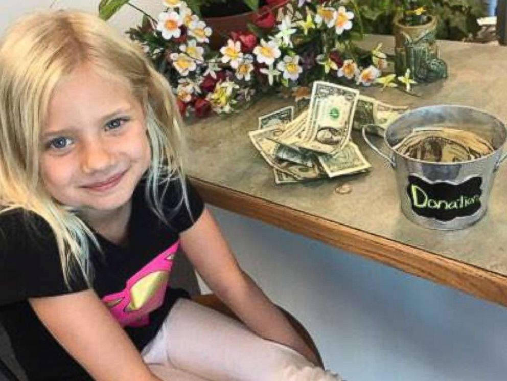 PHOTO: Hayden Meadows Elementary School student Amiah Van Hill, 6, used lemonade stands to raise money to pay off fellow students lunch debts.