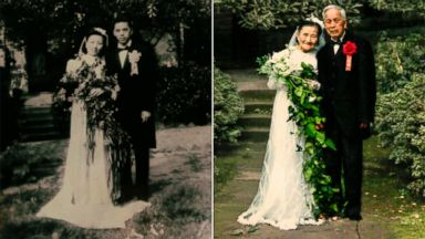 PHOTO: A split of images showing Cao Yuehua and Wang Devi posing for wedding photos.