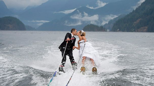 ap waterski wedding ll 130829 16x9 608 Couples Wet and Wild Wedding on Water Skis