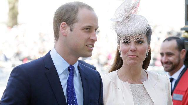 PHOTO: Prince William and Kate, Duchess of Cambridge, arrive for a service to celebrat