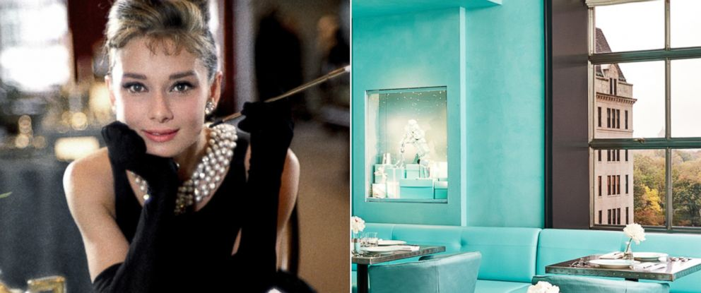PHOTO: Audrey Hepburn poses for a publicity still for the Paramount Pictures film Breakfast at Tiffanys in 1961, in New York City | The iconic Tiffany Blue color is seen throughout the interior floor plan and at the forefront of the cafes design.