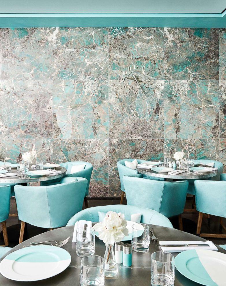 PHOTO: Tiffanys new Blue Box Cafe features elegant finishes like herringbone marble and amazonite stone.