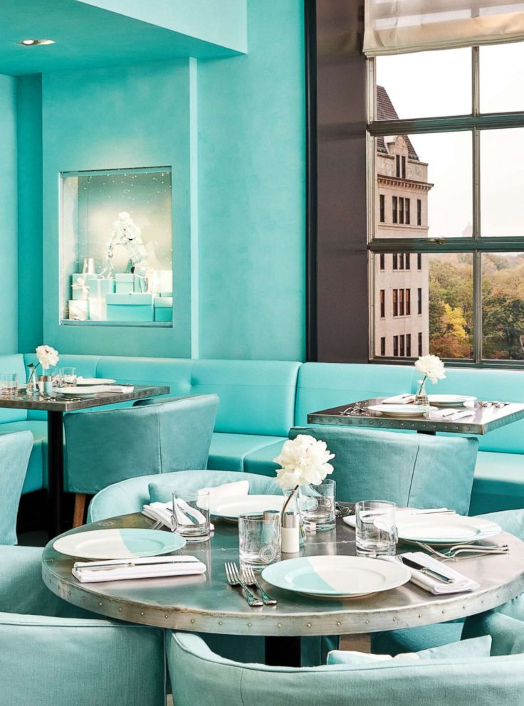 PHOTO: The iconic Tiffany Blue color is seen throughout the interior floor plan and at the forefront of the cafes design.