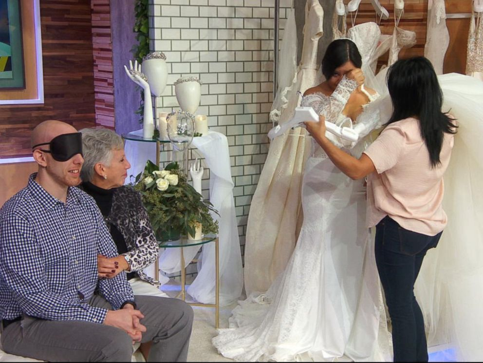 PHOTO: Myrna Orozco showed off the strapless Pnina Tornai dress with lace detail she chose to wear when she walks down the aisle.