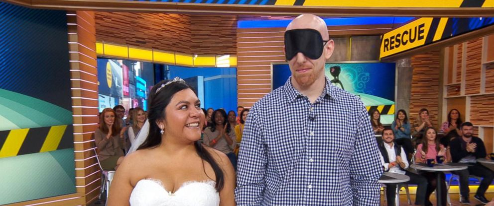 """PHOTO: Myrna Orozco and her fiance, Stephen Gallos of Texas, appeared on ABCs """"Good Morning America,"""" Oct. 20, 2017, where Orozco chose a dress out of 20 designer garments, after losing her original gown in Hurricane Harvey."""