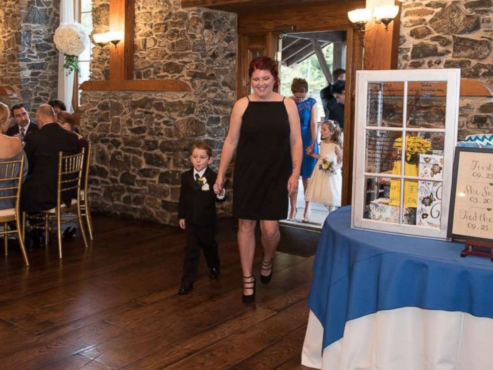 PHOTO: Casey Bender, 25, of Chambersburg, Pennsylvania, seen with her son Landon, 4, on September 23, the day of Landons fathers wedding.