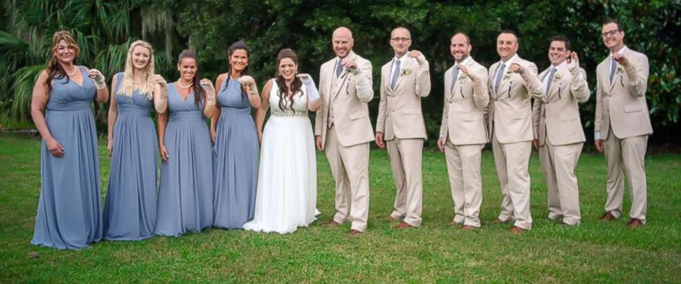 Bridal Party Wears Bandages After Bride Forced To Wear Cast At