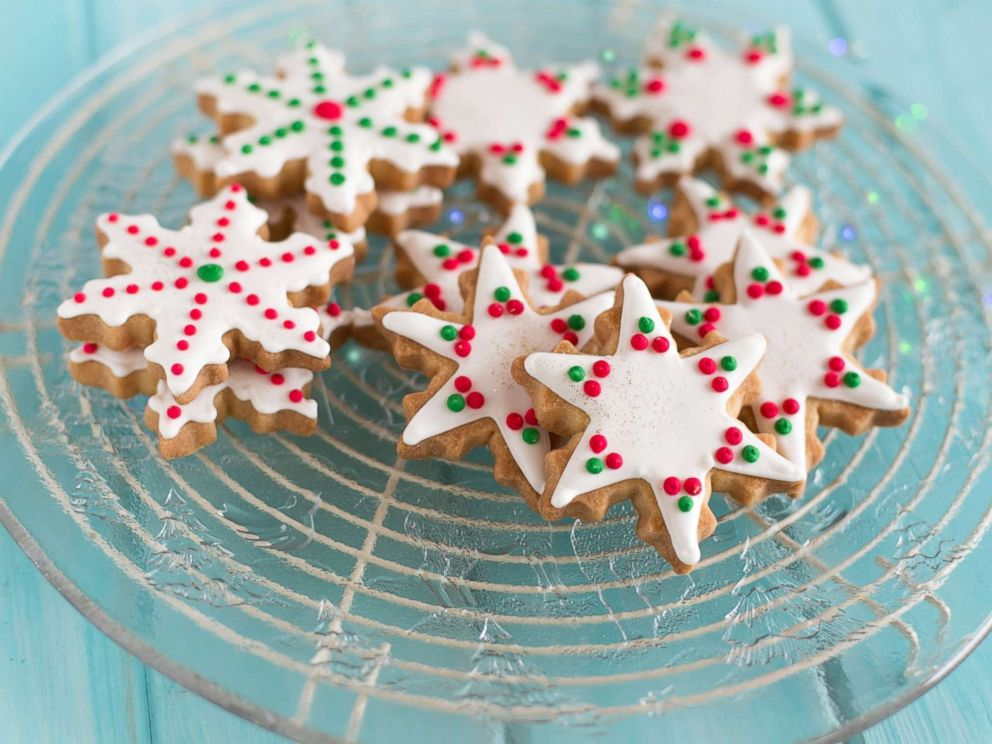 PHOTO: Close-up of a plate of snowflake and star shaped cookies in this undated stock photo.