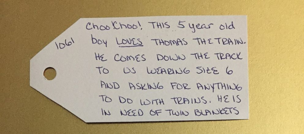 PHOTO: Things of My Very Own, an organization in Schenectady, N.Y. that helps kids in crisis, shared the Christmas wishes of some of the children they work with.