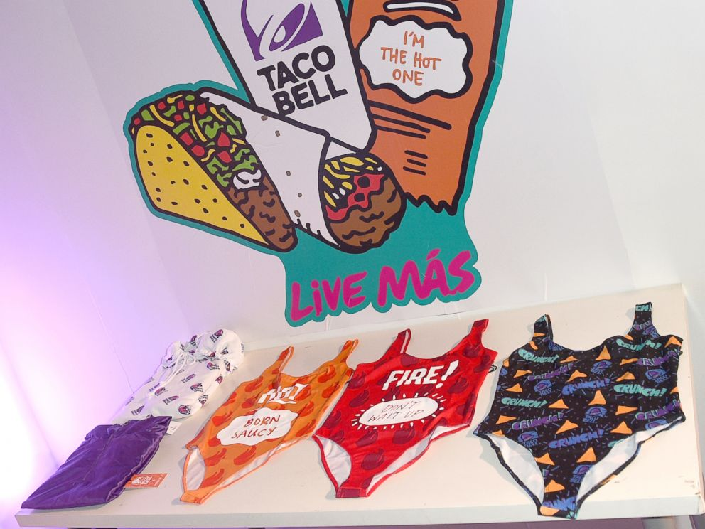 PHOTO: A few items from the limited-edition Taco Bell, Forever 21 line are seen on display.