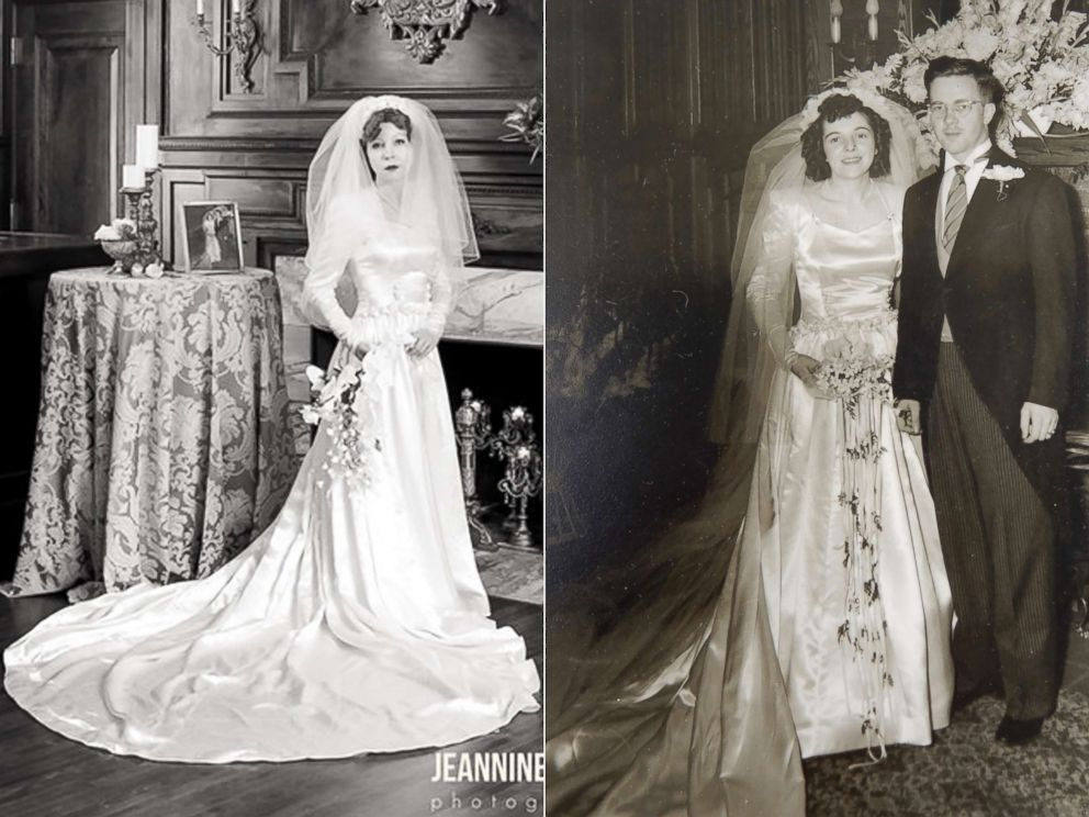 PHOTO: Colleen Dejno, 33, of St. Paul, Minnesota, wears the wedding gown belonging to her grandmother, Edith Jane, and Edith Jane poses at her 1947 wedding.