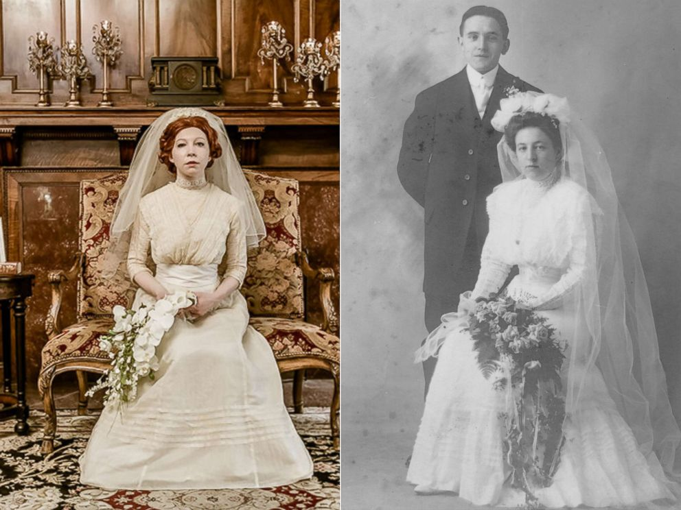 PHOTO: Colleen Dejno, 33, of St. Paul, Minnesota, wears the wedding gown belonging to her great-grandmother, Mary, and Mary poses at her 1910 wedding.