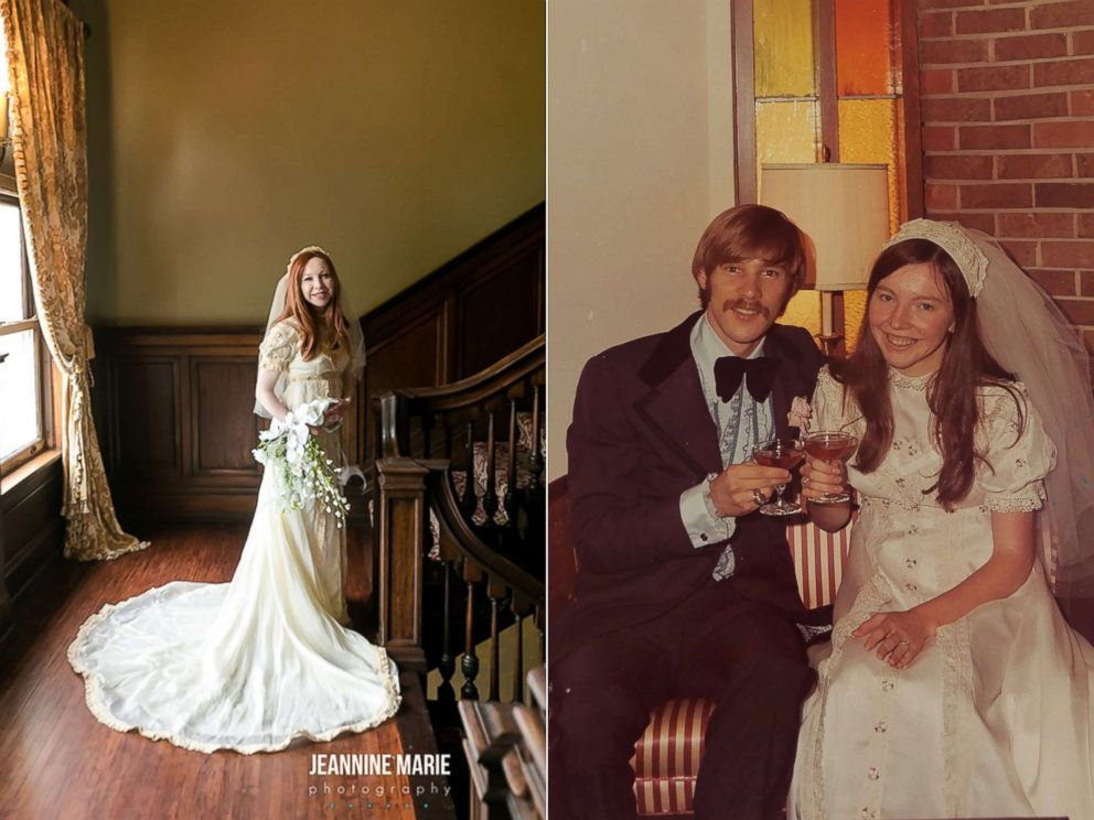 PHOTO: Colleen Dejno, 33, of St. Paul, Minnesota, wears the wedding gown belonging to her mother, Patricia, and Patricia poses at her 1973 wedding.