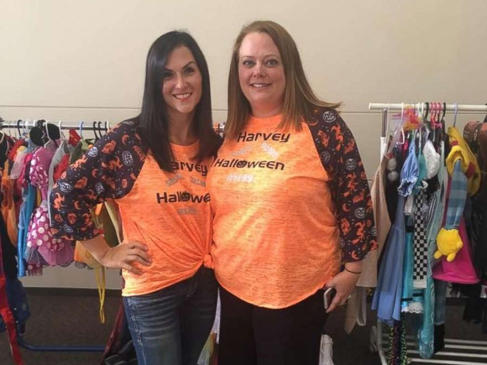 PHOTO: Becky Schmidt, left, and Michelle Donahue are collecting Halloween costumes for children affected by Hurricane Harvey in Katy, Texas.