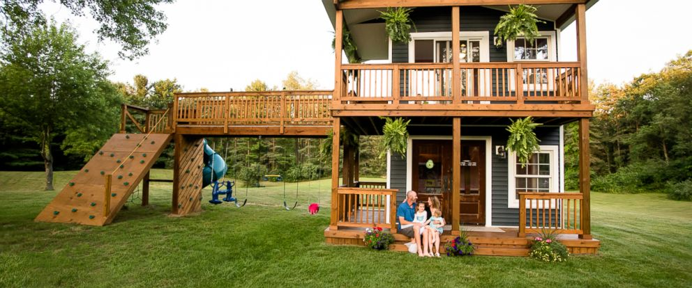 Michigan dad builds lavish 2 story playhouse for his for How to build a 2 story playhouse