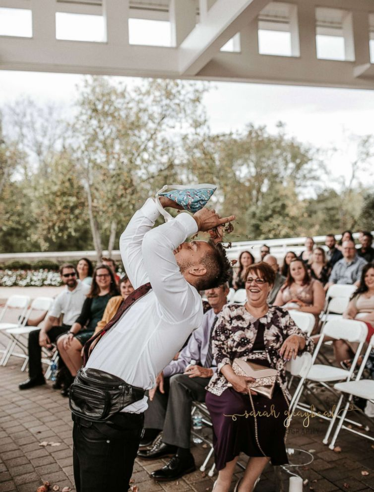 PHOTO: He said he gave himself a nice leaf shower at the end once he reached the altar.