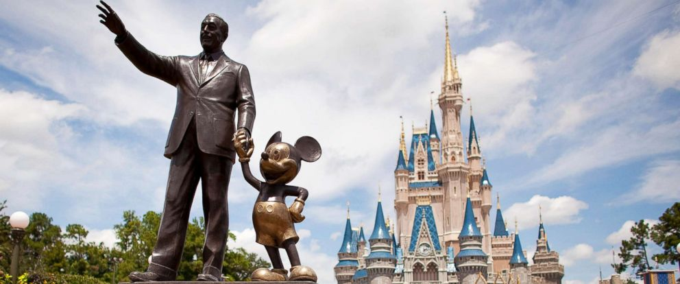 "PHOTO: ""Partners,"" a statue of Walt Disney and Mickey Mouse, sits in front of Cinderella Castle at Magic Kingdom, part of the Walt Disney World theme park and resort in Lake Buena Vista, Fla, Aug. 31, 2009."