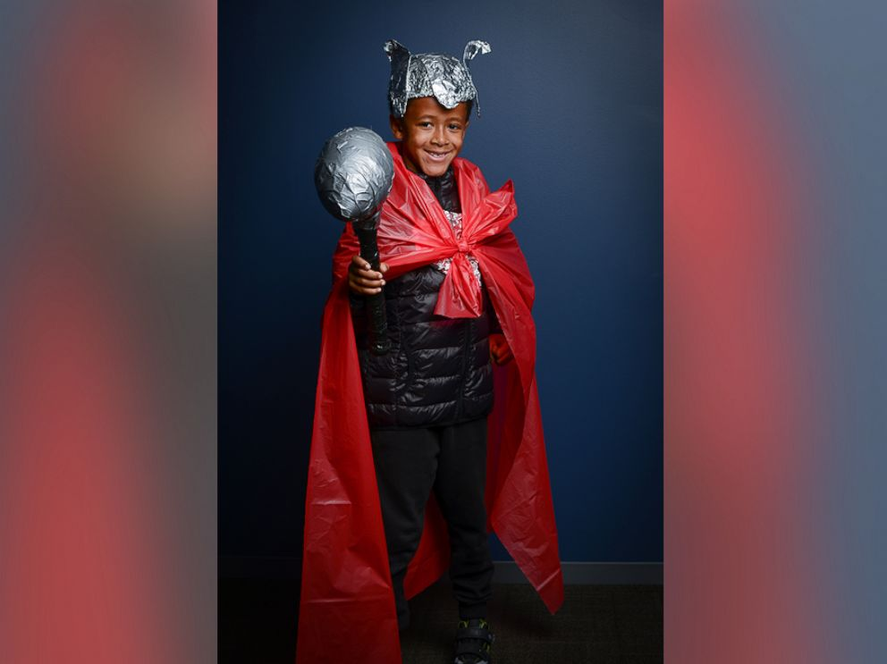 PHOTO: To create this Thor costume, use a quilted black puffer coat as armor and stuffed socks inside the arms to create the look of bicep muscles.