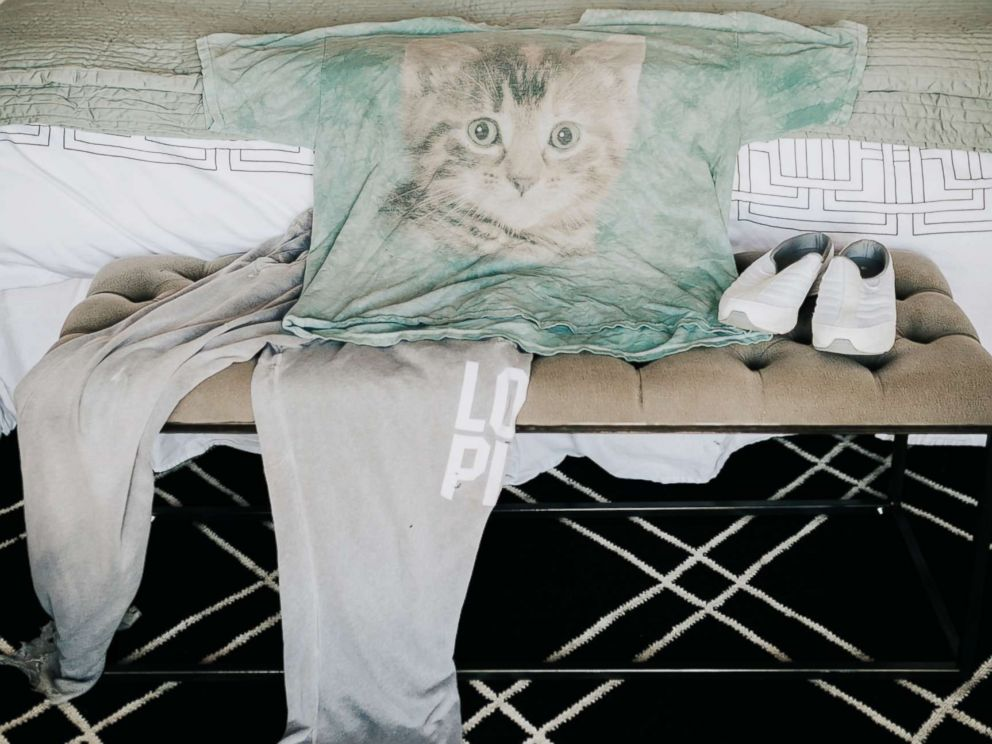PHOTO: Erin Goldberg loves her old cat t-shirt and baggy sweatpants that shes had for years.