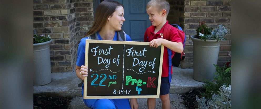 PHOTO: Both Katie Tucker and her son Edric Tucker, 4, of Dallas, Texas, commemorated their first days of school with an adorable photo announcement.