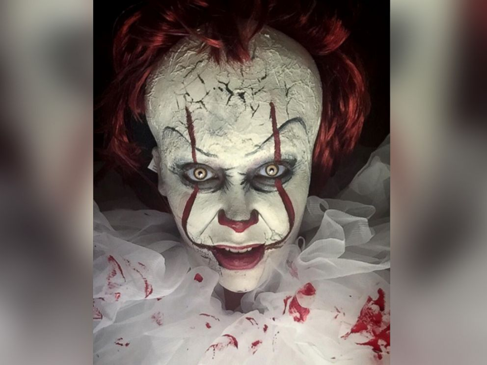 PHOTO: Makeup artist Gina Scheiber of California shares her Halloween makeup design on Instagram for Pennywise the clown from the 2017 horror film, It.