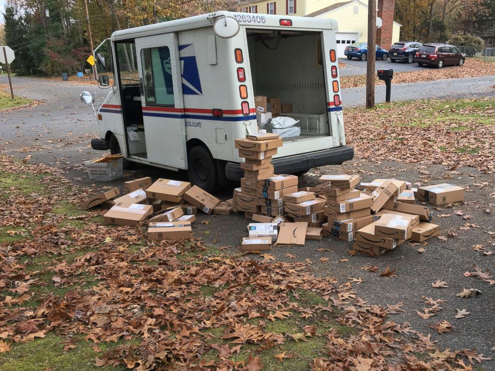 PHOTO: A USPS truck delivered hundreds of packages to the Tietjen family at their New Jersey home earlier this month.