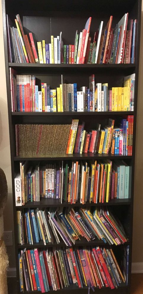 PHOTO: One bookshelf filled with books delivered to the Tietjen family for Lenas Library.