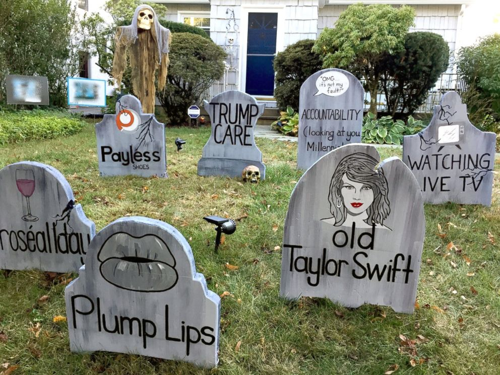 PHOTO: Michael Frys gravestones say so long to old Taylor Swift and plump lips.