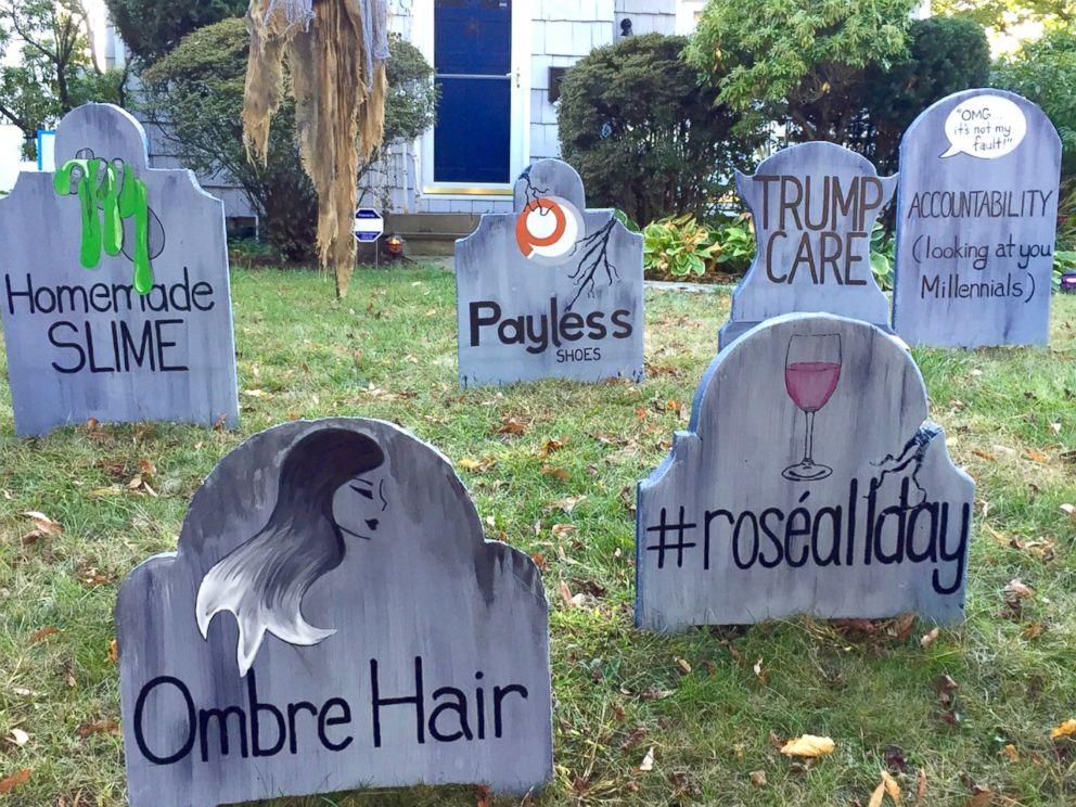 PHOTO: The homemade gravestones bid adieu to ombre hair and #roseallday trends.