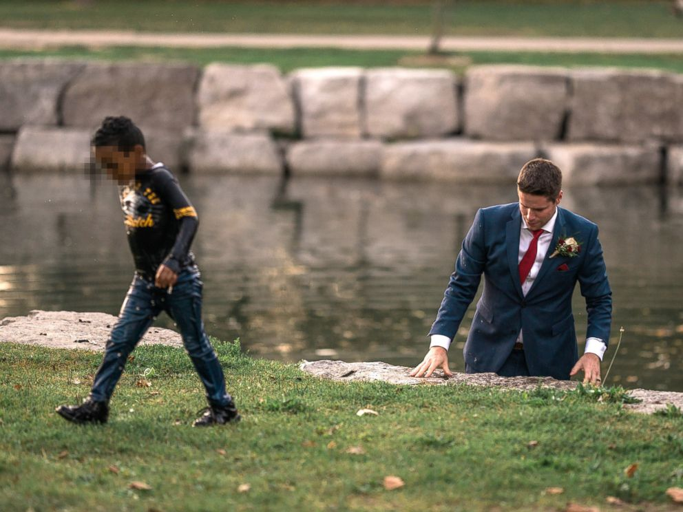 Groom jumps in water to save drowning boy