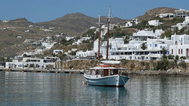 PHOTO: A boat anchors at the port on April 16, 2016 in Mykonos, Greece.