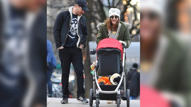 PHOTO: Actress Drew Barrymore and Will Kopelman are seen with an UPPAbaby stroller on Jan. 20, 2013 in New York City.