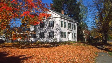 PHOTO: Fall leaves outside of a home in Massachusetts.
