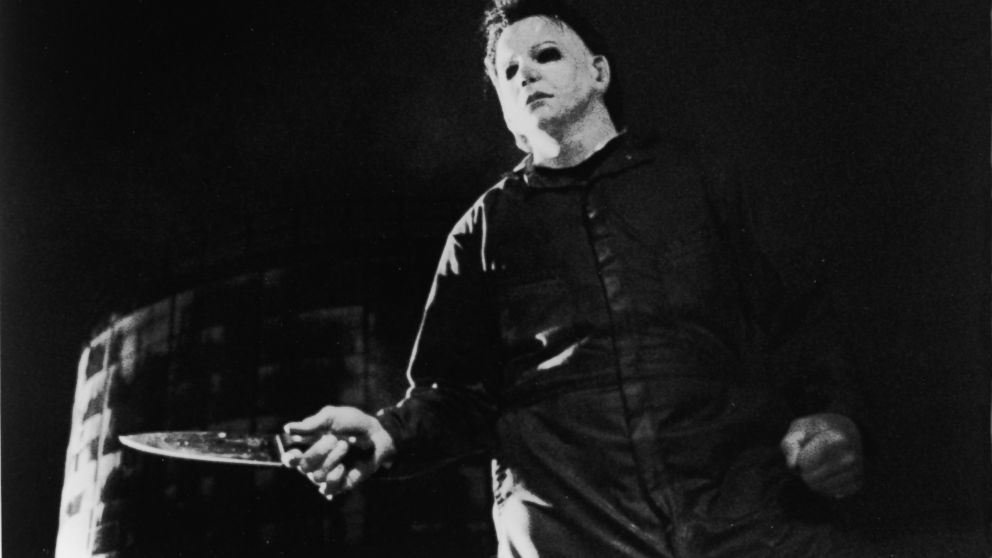 PHOTO: Tony Moran, as masked killer Michael Myers, wields a knife in a still from the horror film, Halloween, directed by John Carpenter, 1978.