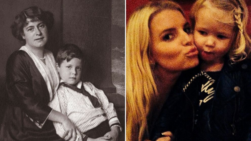 PHOTO: Austrian Actress Rosa Albach Retty, left, with her son Wolf is seen in this undated photo taken circa 1914, and Jessica Simpson, right, is seen in this undated photo that was posted in Instagram in February, 2014.