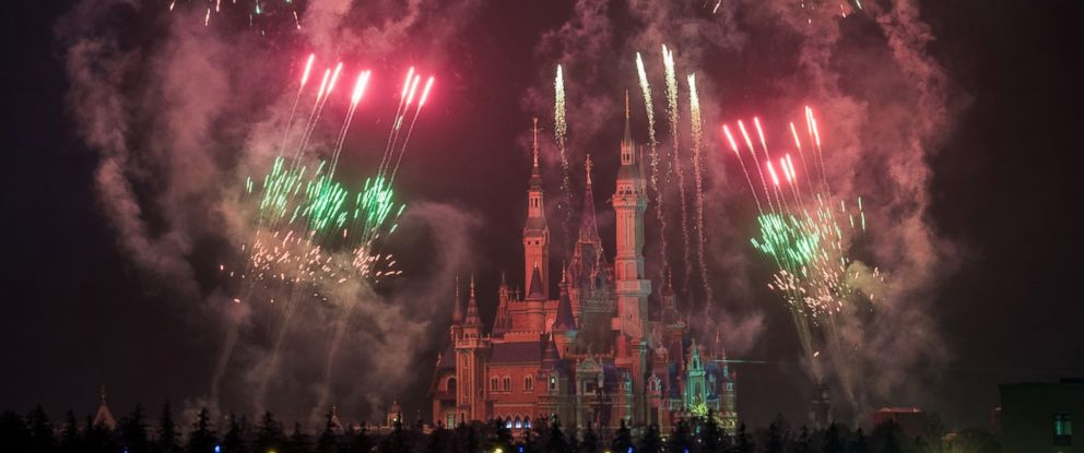 PHOTO: Fireworks are set off near the Enchanted Storybook Castle at the Shanghai Disney Resort in Shanghai, June 1, 2016.