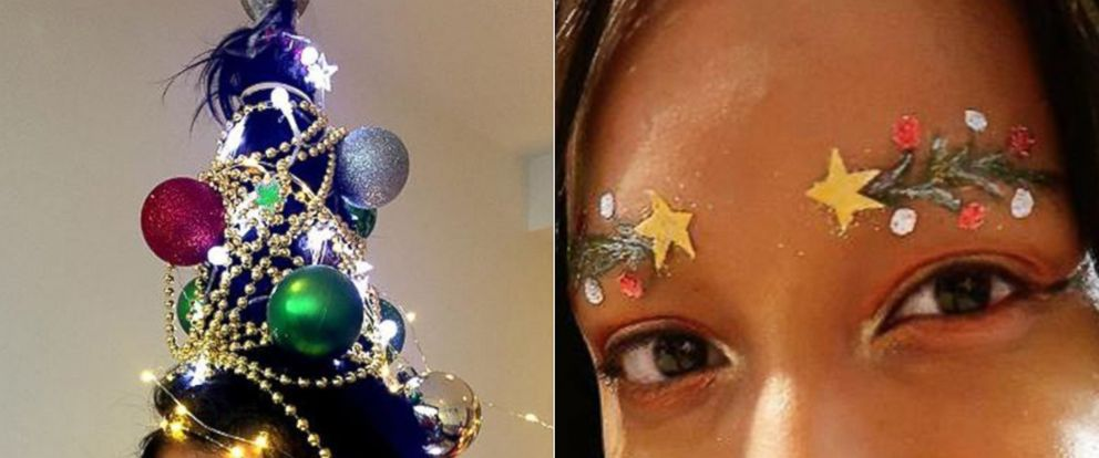PHOTO: Christmas hair and eyebrows are seen in photos posted to Instagram.