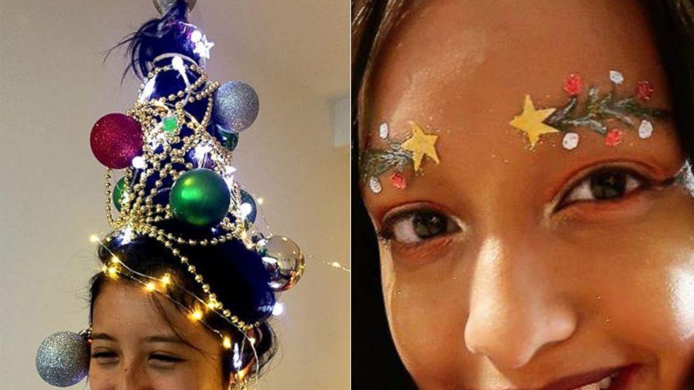 Christmas tree hair and eyebrows are lighting up social media