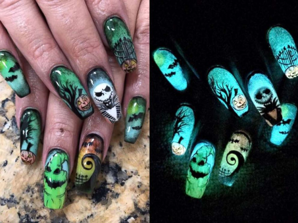 This woman doesnt mess around with her halloween nail art abc news photo nichole herrera of corpus christi texas went viral with this halloween prinsesfo Choice Image