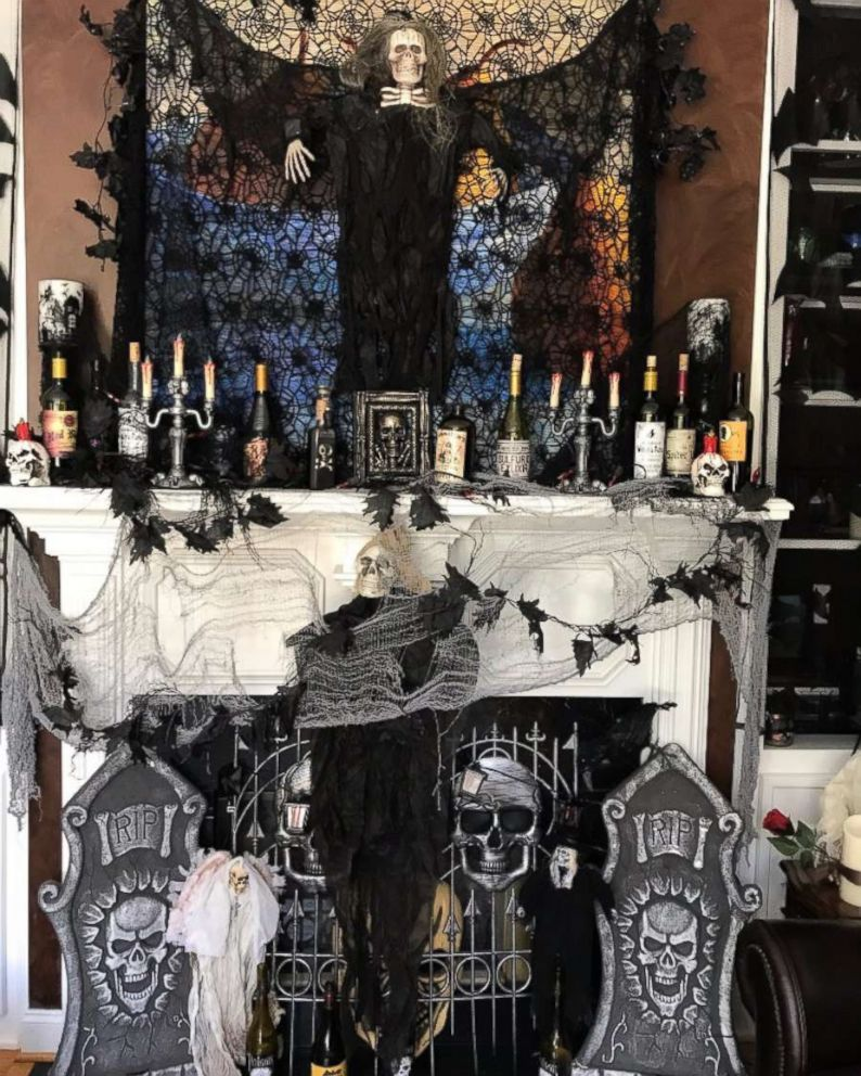 photo spooky decorations cover the familys mantle
