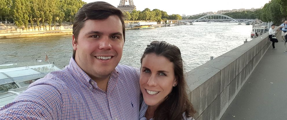 "PHOTO: Nick and Christina Hymer say their ""earlymoon"" trip to Paris gave them time to ""enjoy each others company and just relax."""