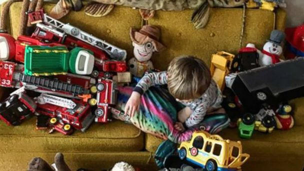 PHOTO: A child plays with toys.